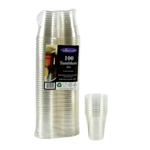 JENA 100 Pack Disposable 250ml/500ml Strong Plastic Tumblers/Cups/Party/Event